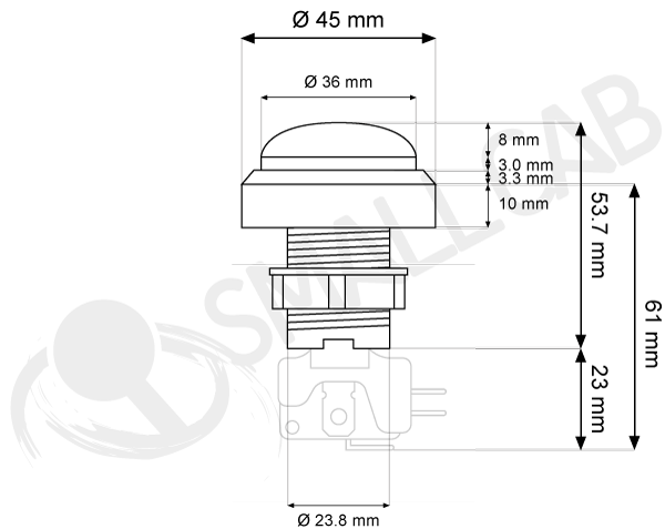 Convex light button 46mm screw diagram