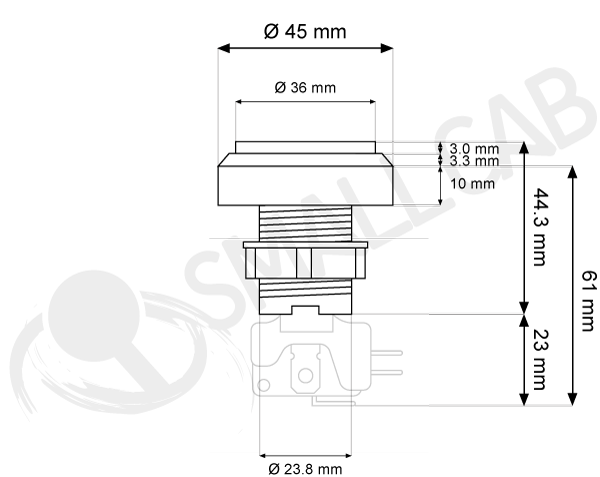 Flat light button 46mm screw diagram