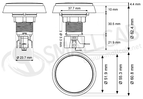 Flat light button 60mm screw diagram