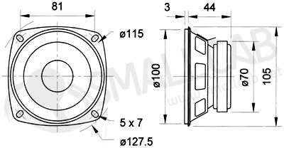 Schema Haut parleur 10cm 30W