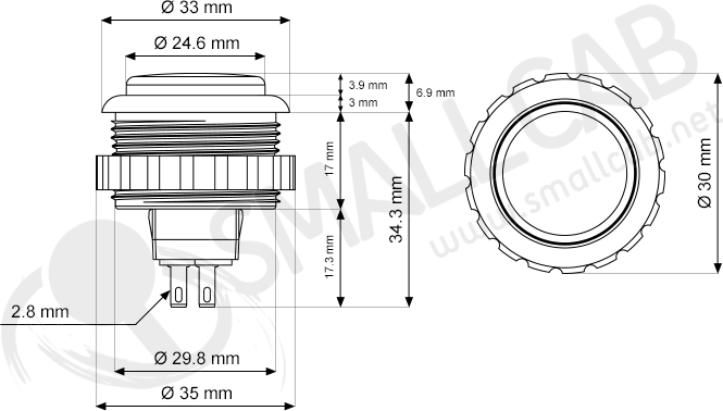 seimitsu ps-14-kn bouton transparent