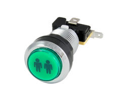 Chrome button bright green P2 28mm screwn