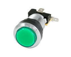 Chrome button bright green 28mm screwn