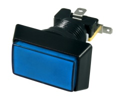 Blue rectangular illuminated button