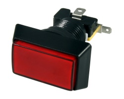 Red rectangular illuminated button