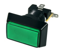 Green rectangular illuminated button