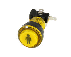 Button bright yellow P1 28mm screwn