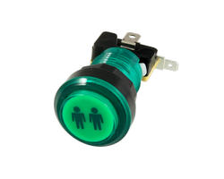 Button bright green P2 28mm screwn