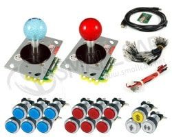 Kit Joysticks lumineux/boutons lumineux chromes et interface USB
