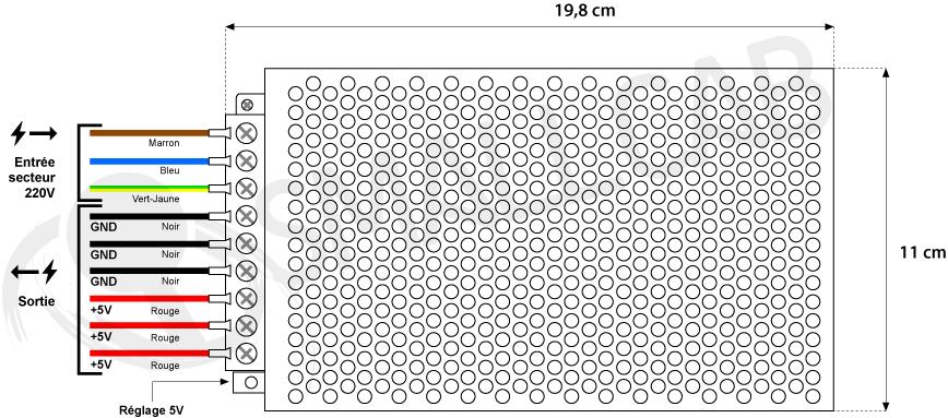 Power supply 24V/10A - Terminals Diagram