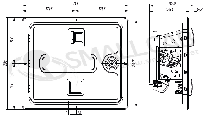 Diagram Pinbal coin door