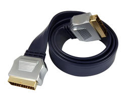 Cable plat Peritel male - male plaque Or blinde 1.5m