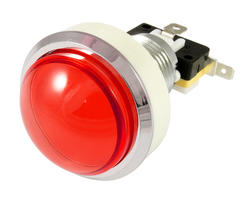 Bouton lumineux convexe rouge 46mm vissable