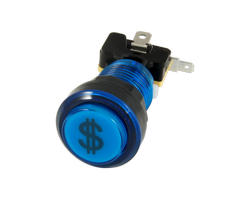 Button bright blue credit 28mm screwn