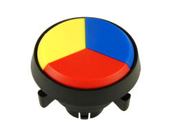 Bouton triple - jaune bleu rouge 29mm vissable