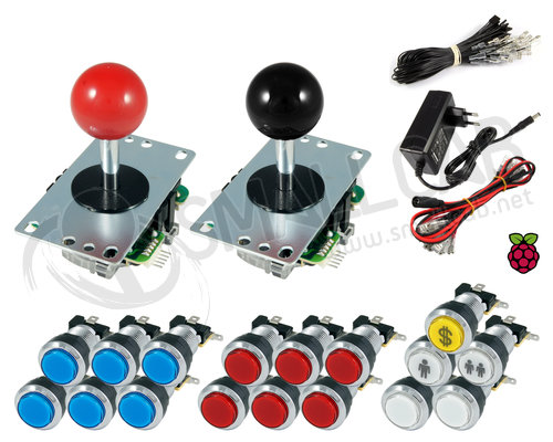 Kit Raspberry Sanwa joysticks / bright chrome buttons